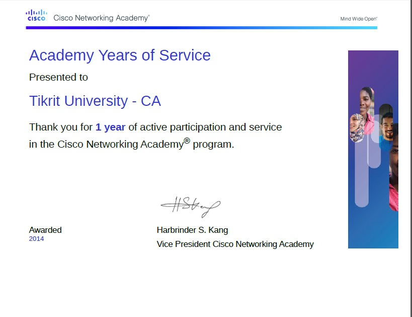 Certificate from Cisco Academy